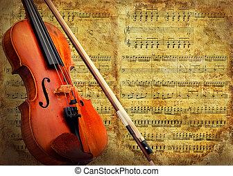 violon, grunge, retro, fond, musical