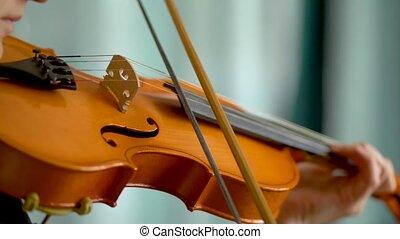 violon, haut, femme, arc, mains, fin, vue, violinist., jeune