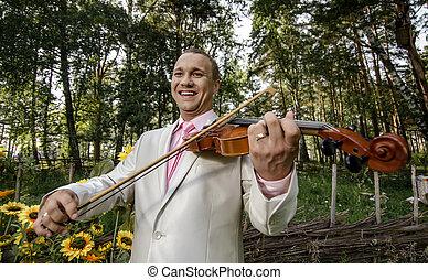 violon, jeu, type, joyeux