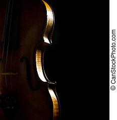 violon, noir, côté, fond, musical
