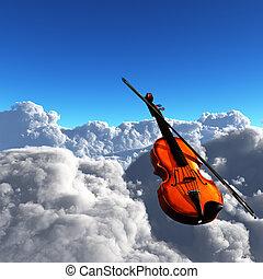 violon, nuages