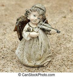 violon, peu,  figurine, jouer, ange