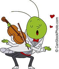 violon, sauterelle, jouer