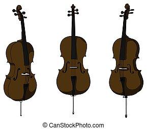 violoncelle, classique, vecteur, fond, isolé, blanc