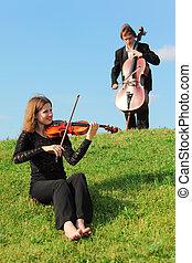 violoncellist, hemel, toneelstuk, tegen, violist, gras