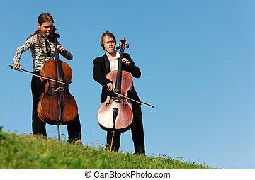 violoncellists, toneelstuk, hemel, tegen, gras, twee