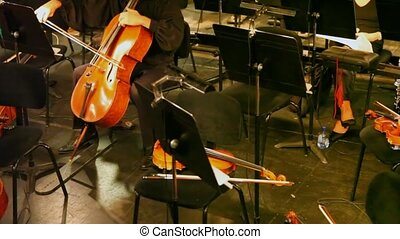 violoncello on which is played by musician in theatrical pew