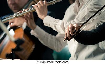 violonistes, exécuter, gros plan, mains