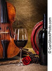 viool, barell, glas, rode wijn