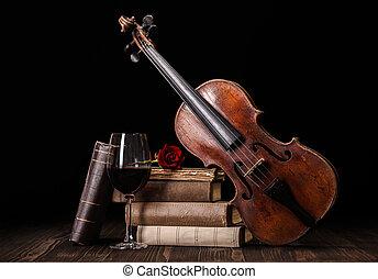 viool, boekjes , oud, rode wijn