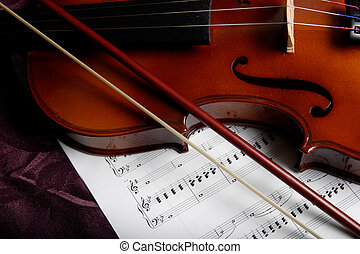 viool, bovenop, muzieknoten