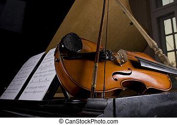 viool, en, piano