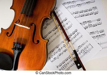 viool, het blad van de muziek, boog