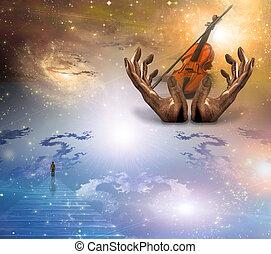 viool, het turen, op, gezicht