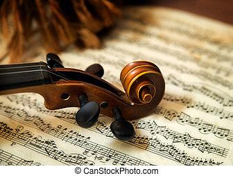 viool, hoofd, muzieknoten