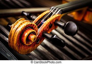 viool, hoofd, touwtje, achtergrond, detail