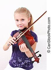 viool, klein meisje, spelend