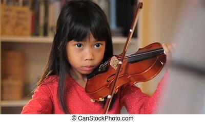 viool, meisje, gebruik, haar