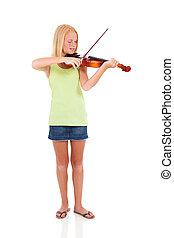 viool, meisje, jonge, spelend