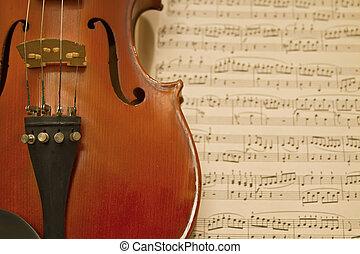 viool, muziek, bladen