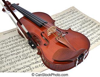 viool, oud, blad