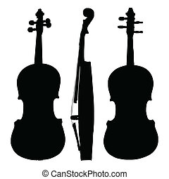 viool, oud, silhouette, kanten
