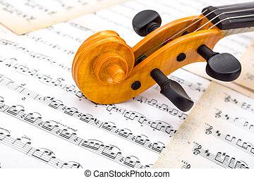 viool, partituur, aanzicht, boekrol, afsluiten
