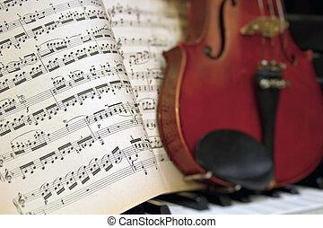 viool, piano, muziek, bladen, verdoezelen