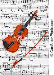 viool, speelbal, het blad van de muziek