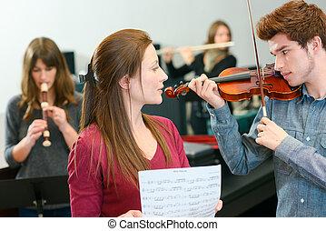viool, toneelstuk, leren