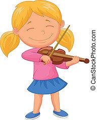 viool, weinig; niet zo(veel), spelend, meisje, spotprent