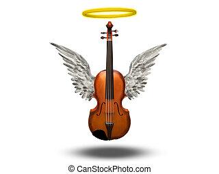 viool, witte , vleugels, halo