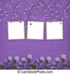 viooltje, abstract, achtergrond, met, opgeschort, kralen,...