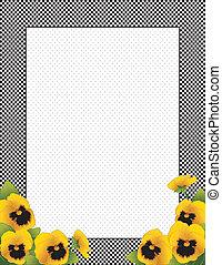 viooltje, gingham, bloemen, goud, frame
