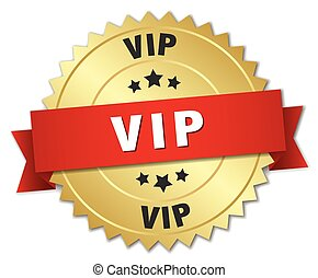 vip 3d gold badge with red ribbon
