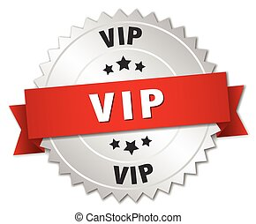 vip 3d silver badge with red ribbon