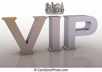 VIP abbreviation with a crown. 3D text.