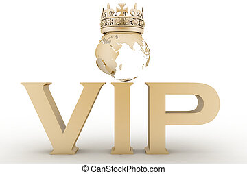 VIP abbreviation with a crown. 3D text