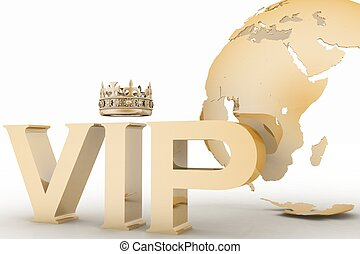 VIP abbreviation with a crown on globe background