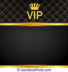VIP abstract quilted background, diamonds and golden letters with crown. Vector illustration.