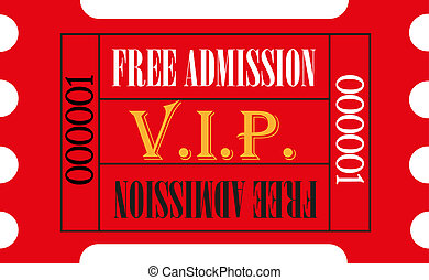vip, admission ticket, rojo