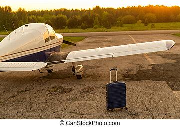 vip, avión, pequeño, azul, chorro., sí mismo, concept., ...