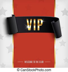 VIP background with realistic black curved ribbon on red carpet
