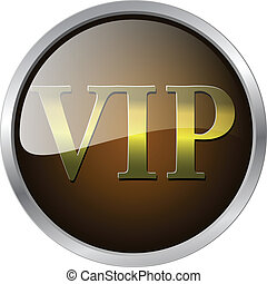 VIP badge gold and brown with metallic elements, vector illustration