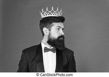 vip. Big boss. Formal event. King crown. Formal wear male...