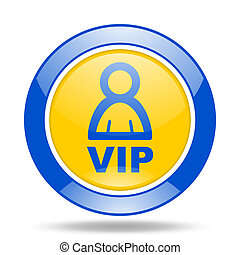 vip blue and yellow web glossy round icon