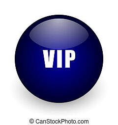 Vip blue glossy ball web icon on white background. Round 3d render button.