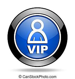 vip blue glossy icon