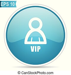 Vip blue glossy round vector icon in eps 10. Editable modern design internet button on white background.