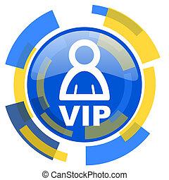 vip blue yellow glossy web icon